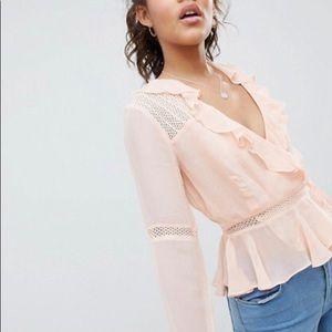 ASOS Plus 16 Light pink wrap long sleeve blouse
